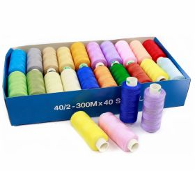 Ata de Cusut 40/2, 300m, Alba (40 papiote/cutie)DorTak Sewing Thread 40/2, 300 m, Light-Assorted (40 spools/box)DorTak