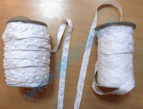 Capse de Cusut Banda cu Capse din Plastic, 25 mm, Alb, Negru (50 metri/rola)