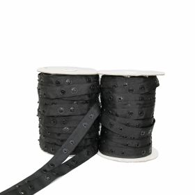 Capse pe Rola Banda cu Capse din Plastic, 25 mm, Alb, Negru (50 metri/rola)
