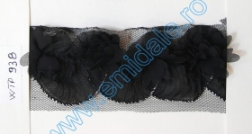 Pasmanterie LA2075  Neagra (10 m/rola) Dantela, latime 5.5 cm (pret/metru) Se vinde la rola ! Cod:WTP938