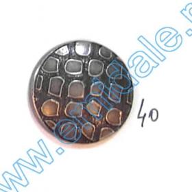Nasturi Metalizati, cu Doua Gauri, din Plastic (100 bucati/pachet) Cod: 2620  Nasturi A363-SA, Marimea 40 (100 buc/pachet)