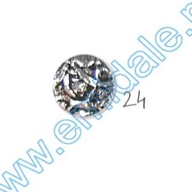 Nasturi Metalizati, cu Picior, din Plastic 15mm (144 bucati/pachet) Cod: 2122 Nasturi A832, Marime 24, Argintii (100 buc/pachet)