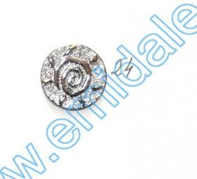 Nasturi cu Patru Gauri N714/18 (100 buc/pachet) Nasturi Plastic Metalizati JU882, Marime 24, Argintii  (100 buc/pachet)
