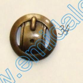 Nasturi Metalizati, cu Doua Gauri, din Plastic (100 bucati/pachet) Cod: 2620  Nasturi Plastic Metalizati JU1318, Marimea 34, Antic Brass (100 buc/pachet)