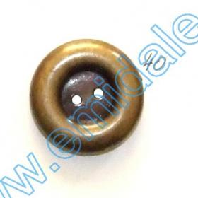 Nasturi Metalizati, cu Picior, din Plastic 25mm (100 bucati/pachet) Cod: 3166  Nasturi Plastic Metalizati K283, Marimea 40, Antic Brass (100 buc/pachet)