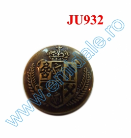 Nasturi cu Picior AHWS050, Marime 40 (144 buc/pachet) Nasture Plastic Metalizat JU932, Marimea 40, Antic Brass (100 buc/punga)