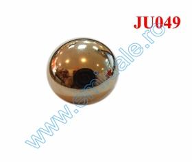 Nasturi Metalizati, cu Picior, din Plastic 15mm (144 bucati/pachet) Cod: 2122 Nasture Plastic Metalizat JU049, Marime 28, Auriu (100 buc/punga)