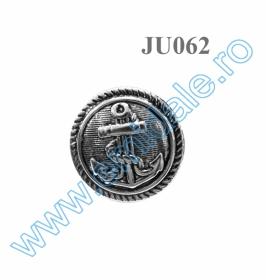 Nasturi A539, Marimea 34 (100 buc/pachet) Nasture Plastic Metalizat JU062, Marime 34, Argintiu (100 buc/punga)