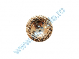 Nasturi Metalizati, cu Picior, din Plastic 15mm (144 bucati/pachet) Cod: 2122 Nasturi cu Patru Gauri 11HB-H614, Marimea 20, Aurii (100 buc/pachet)