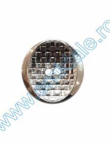 Nasturi Metalizati, cu Picior, din Plastic  21mm (100 bucati/pachet) Cod: 3148 Nasturi cu Doua Gauri 11HB-H618, Marimea 40, Argintiu(100 buc/pachet)
