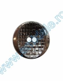 Nasturi Metalizati, cu Picior, din Plastic  25mm (100 bucati/pachet) Cod: 2123 Nasturi cu Doua Gauri 11HB-H618, Marimea 40, Argintiu Inchis (100 buc/pachet)