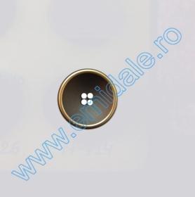 Nasturi Metalizati, cu Picior, din Plastic, marime 24 (144 bucati/pachet) Cod: B6305 Nasturi cu Patru Gauri N714/18 (100 buc/pachet)