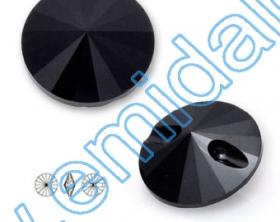 Cristale fara Adeziv 2028, Marimea: 50 mm, Culoare: Crystal (4 buc/pachet)  Nasturi 3015, Marimea: 12mm, Culoare: Jet (280) (48 buc/pachet)