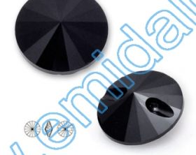 Pandant 6190, Marimea: 35 mm, Culoare: Crystal (18 buc/pachet)  Nasturi 3015, Marimea: 12mm, Culoare: Jet (280) (48 buc/pachet)