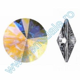 Cristale fara Adeziv 2035, Marimea: 20 mm, Culoare: Crystal (40 buc/pachet)  Nasturi 3015, Marimea: 18mm, Culoare: Crystal-Alb (24 buc/pachet)