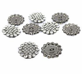 Nasture Plastic Metalizat JU895/40 (100 buc/punga) Buttons with Rhinestones N13600 (10 pcs/pack)