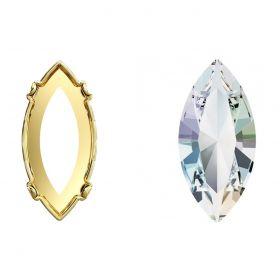Cristale de Cusut Swarovski, 18x9 mm, Culori: Denim Blue (1 bucata)Cod: 3223 Cristale de Montura 4228-MM15X7 (1 bucata) Crystal-AB