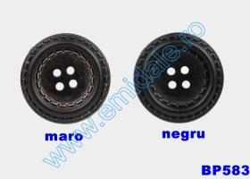 Nasture Plastic Metalizat JU049, Marime 28, Antic Brass (100 buc/punga)  Nasturi cu Patru Gauri BP583/48 (25 buc/pachet)