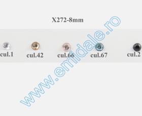 Strasuri de Cusut in Montura Metalica, 18x25 mm (100 buc/punga)Cod: R11785 Strasuri X272, Marime 8 mm (100 buc/punga)
