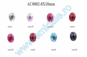 Strasuri de Cusut R11640, Marime: 10 mm, Culoare: 13 (100 buc/punga) Sew-on Crystals AC0002, Size 8x10 mm (100 pcs/pack)