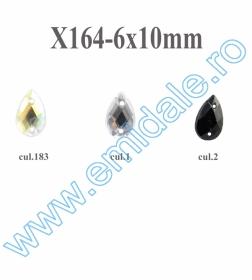 Strasuri de Cusut in Montura Metalica, 8 mm (100 buc/punga)Cod: R11781 Strasuri X164, Marimea 6x10 mm (100 buc/punga)
