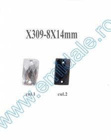 Strasuri de Cusut in Montura Metalica, 18x25 mm (100 buc/punga)Cod: R11785 Strasuri X309, Marime 8x14 mm (100 buc/punga)