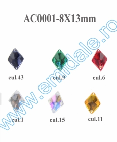 Strasuri de Cusut in Montura Metalica, 18x25 mm (100 buc/punga)Cod: R11785 Strasuri AC0001, Marime 8x13 mm (100 bucati/punga)