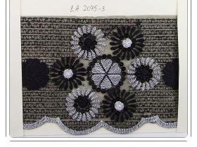 Dantela Brodata cu Fir Metalic, latime 19 cm (13.72 metri/rola) Cod: W474 Pasmanterie LA2075  Neagra (8.95 m/rola)