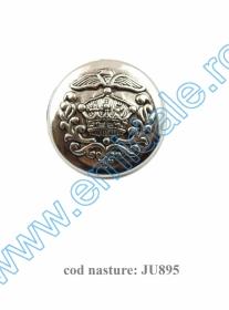 Nasturi cu Doua Gauri 11HB-H618, Marimea 34, Argintiu(100 buc/pachet) Nasture Plastic Metalizat JU895/24 (100 buc/punga)