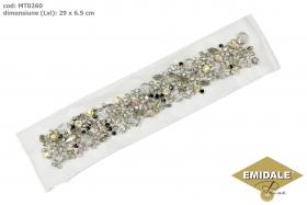 Aplicatie Vestimentara, 13.6x3 cm (6 bucati/pachet)  Aplicatii cu Cristale MT0260