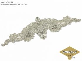 Aplicatie Vestimentara, 13.6x3 cm (6 bucati/pachet)  Aplicatii cu Cristale MT0264