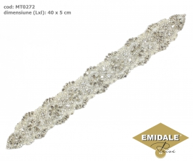 Aplicatii cu Strasuri din Sticla, 8.5x4.7 cm (1 bucata/pachet) Cod: BW-29 Aplicatii cu Cristale MT0272
