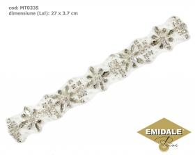 Aplicatii cu Strasuri din Sticla, 7.2x4.5 cm (1 bucata/pachet) Cod: BW-27 Aplicatii cu Cristale MT0335