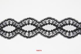 Banda Dantela Brodata, 185 mm, Alb, Negru (9 metri/rola) Cod: 13492 Dantela 10974 (8.9 m/rola) Neagra