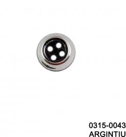 Nasture Plastic Metalizat ABH027-7, Marimea 24 (144 buc/pachet)  Nasturi cu Patru Gauri 0315-0043/16 (200 bucati/punga)