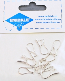 Inele Metalice, 36 mm (10 buc/pachet)  Silver-Plated Earring Hooks, lenght 20 mm (10 pcs/pack)Code: TORTITE-SIMPLE-1