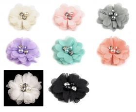 Aplicatii Textile Decorative Mesh Flower with Beads, diameter 50mm (10 pcs/pack)