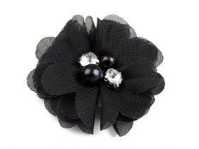 Aplicatie Brodata, lungime 29 cm (6 buc/pachet) Cod: 11644 Flori Textile cu Perle si Strasuri, diametru 50 mm (10 bucati/pachet)