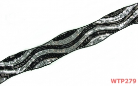 Dantela, latime 75 mm  (13,72 m/rola)Cod: 0575-3344 Dantela cu Paiete, latime 60 mm (8.8 metri/rola)Cod: WTP279