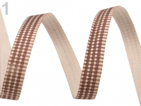 Banda Decorativa din Catifea, latime 10 mm (25 metri/rola) Panglica din Bumbac Model Carouri (22.5m/rola)