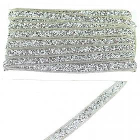 Pasmanterie cu Perle si Starsuri, latime 7 cm (9 m/rola)Cod: 40190 Pasmanterie Termoadeziva cu Strasuri LA3301 (19.2 yards/rola)