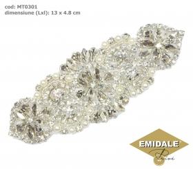 Aplicatii cu Strasuri din Sticla, 8.5x4.7 cm (1 bucata/pachet) Cod: BW-29 Aplicatii cu Cristale MT0301