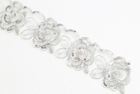 Pasmanterie cu Perle si Starsuri, latime 7 cm (9 m/rola)Cod: 40190 Pasmanterie LA2993 (37.4 m/rola)