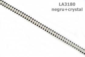 Pasmanterie 2504-25 Argintiu (100 metri/rola)  Pasmanterie cu Strasuri LA3180 (9.9 yards/rola)