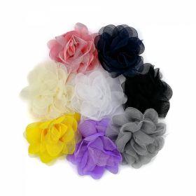 Aplicatii Textile Flori din Sifon, diametru 8 cm (10 bucati/pachet)