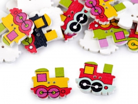 Nasturi Decorativi din Lemn Nasturi Decorativi din Lemn (25 bucati/pachet) Model: Trenulet