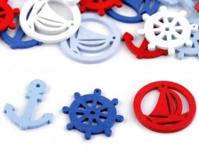 Aplicatii de Cusut, Model Floare (25 buc/pachet) Pandantive din Lemn, Model Ancora, Timona si Barca (25 bucati mix/pachet)