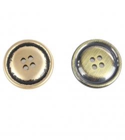Nasture Plastic Metalizat JU049, Marime 28, Antic Brass (100 buc/punga)  Nasturi Metalizati cu Patru Gauri  S558/24 (100 buc/pachet)