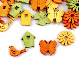 Nasturi Decorativi din Lemn Decoratiuni din Lemn - Casuta, Floare, Fluture, Pasare (25 bucati/pachet)