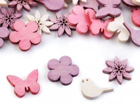 Nasturi Decorativi din Lemn Decorațiuni din Lemn - Floare, Fluture, Pasare (25 bucati/pachet)
